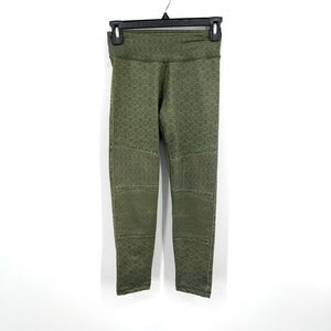 PrAna Roxanne olive green printed cropped athletic yoga gym workout leggings